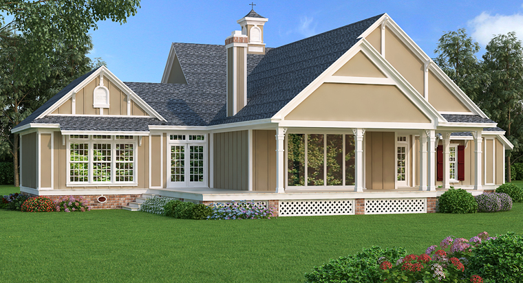 Cottage, Country, Craftsman, Southern House Plan 76914 with 3 Beds, 3 Baths, 2 Car Garage Rear Elevation