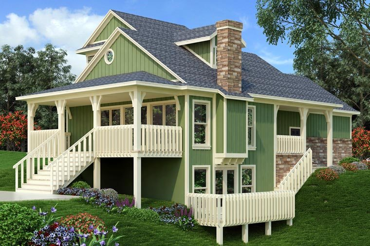 Cottage, Country, Traditional House Plan 76918 with 3 Beds, 4 Baths, 2 Car Garage Rear Elevation