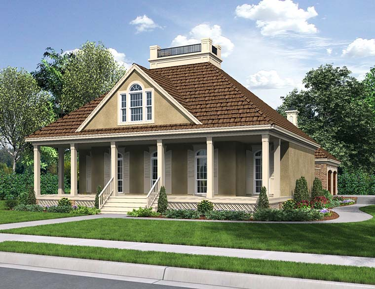 Cottage, Country, European, French Country, Southern House Plan 76919 with 3 Beds, 2 Baths, 2 Car Garage Front Elevation