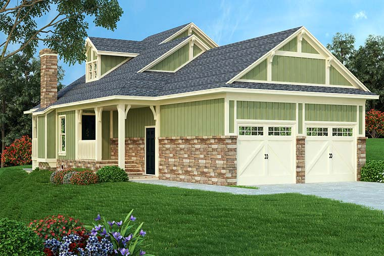 Bungalow, Cottage, Country, Craftsman House Plan 76922 with 2 Beds, 3 Baths, 2 Car Garage Elevation