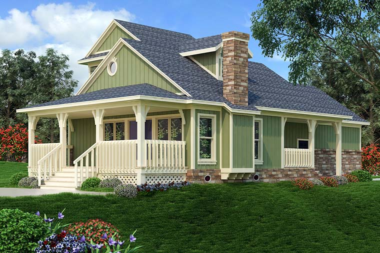 Bungalow, Cottage, Country, Craftsman House Plan 76922 with 2 Beds, 3 Baths, 2 Car Garage Rear Elevation