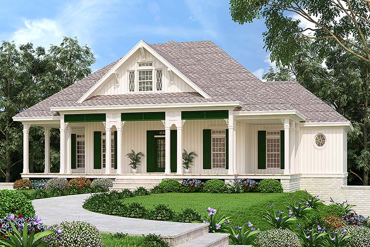 Colonial, Country, Southern House Plan 76925 with 4 Beds, 3 Baths, 2 Car Garage Elevation