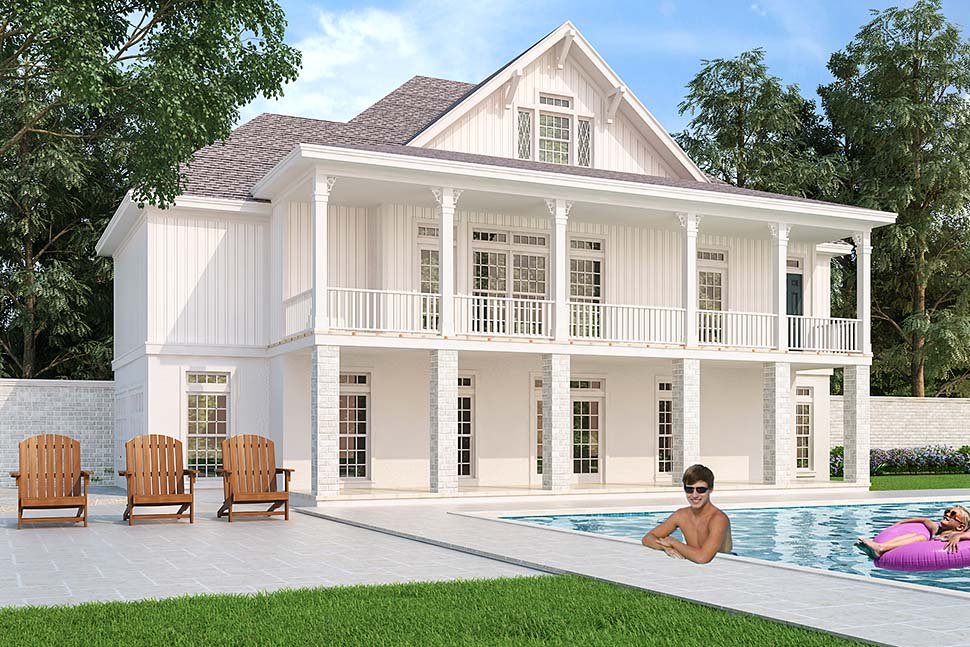 Colonial, Country, Southern House Plan 76925 with 4 Beds, 3 Baths, 2 Car Garage Rear Elevation