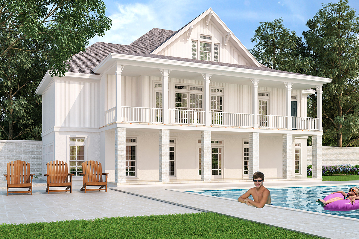 Cottage, Southern, Traditional House Plan 76940 with 3 Beds, 2 Baths, 2 Car Garage Rear Elevation