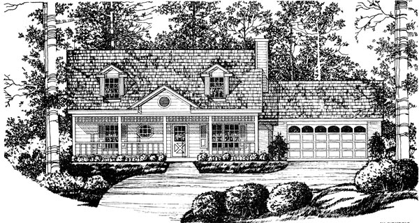 Cape Cod, Country House Plan 77009 with 3 Beds, 2 Baths, 2 Car Garage Elevation