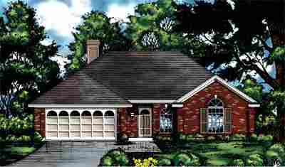 One-Story, Traditional House Plan 77010 with 3 Beds, 2 Baths, 2 Car Garage Elevation