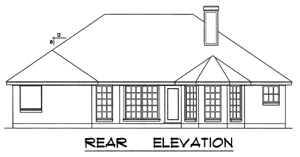 One-Story, Traditional House Plan 77010 with 3 Beds, 2 Baths, 2 Car Garage Rear Elevation