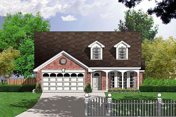Cape Cod, Colonial, Narrow Lot, One-Story House Plan 77017 with 3 Beds, 2 Baths, 2 Car Garage Elevation