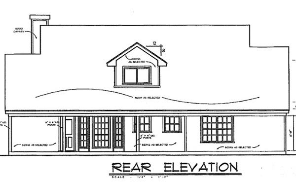 Country House Plan 77080 with 4 Beds, 3 Baths Rear Elevation