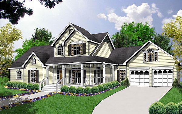 Country, Farmhouse House Plan 77121 with 3 Beds, 3 Baths, 2 Car Garage Elevation