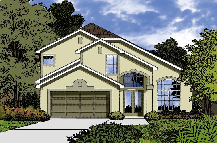 Traditional House Plan 77332 with 4 Beds, 3 Baths, 2 Car Garage Elevation