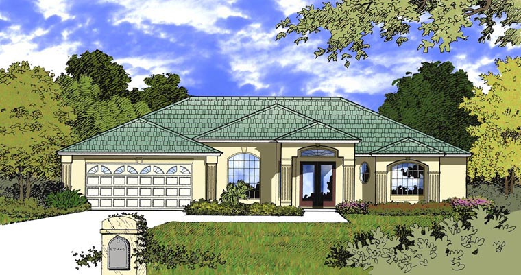 Contemporary House Plan 77344 with 3 Beds, 3 Baths, 2 Car Garage Elevation