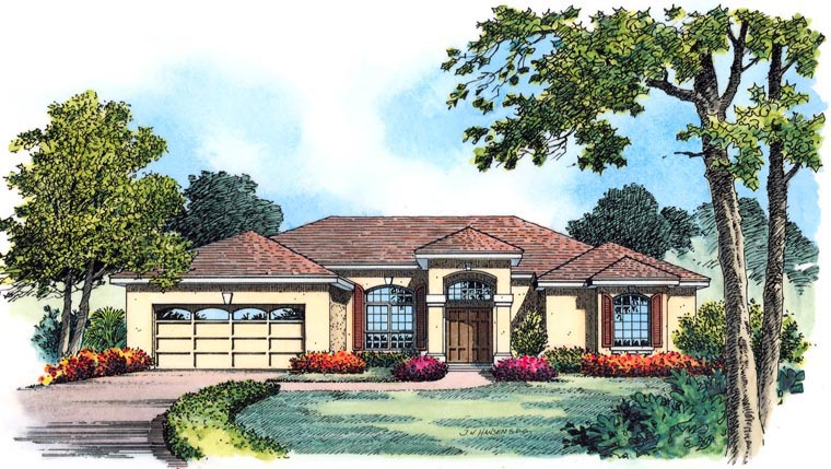 House Plan 77354 with 4 Beds, 3 Baths, 3 Car Garage Elevation