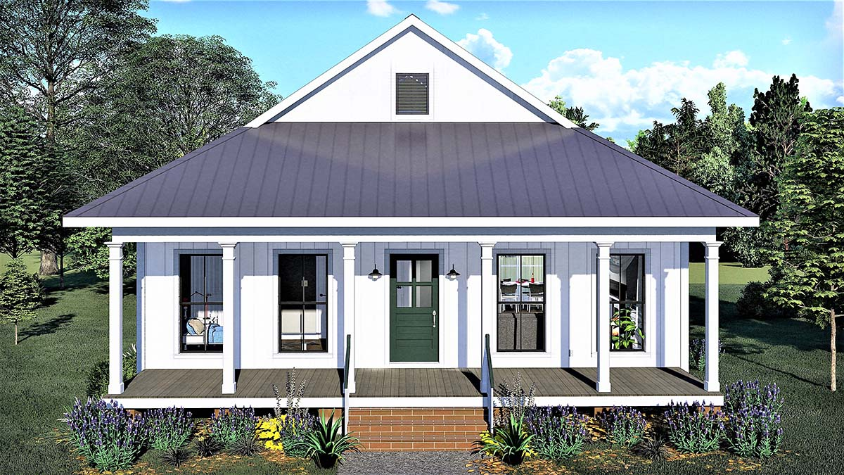 Country, Southern House Plan 77404 with 2 Beds, 1 Baths Front Elevation