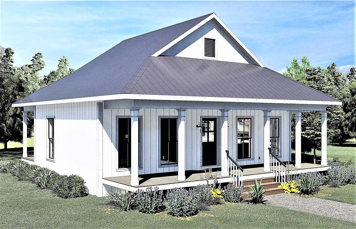 Country, Southern House Plan 77404 with 2 Beds, 1 Baths Picture 2
