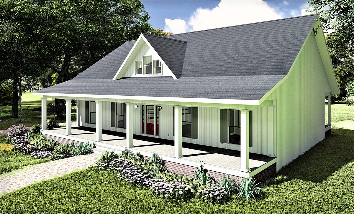 Country, Southern House Plan 77407 with 3 Beds, 2 Baths, 2 Car Garage Picture 1