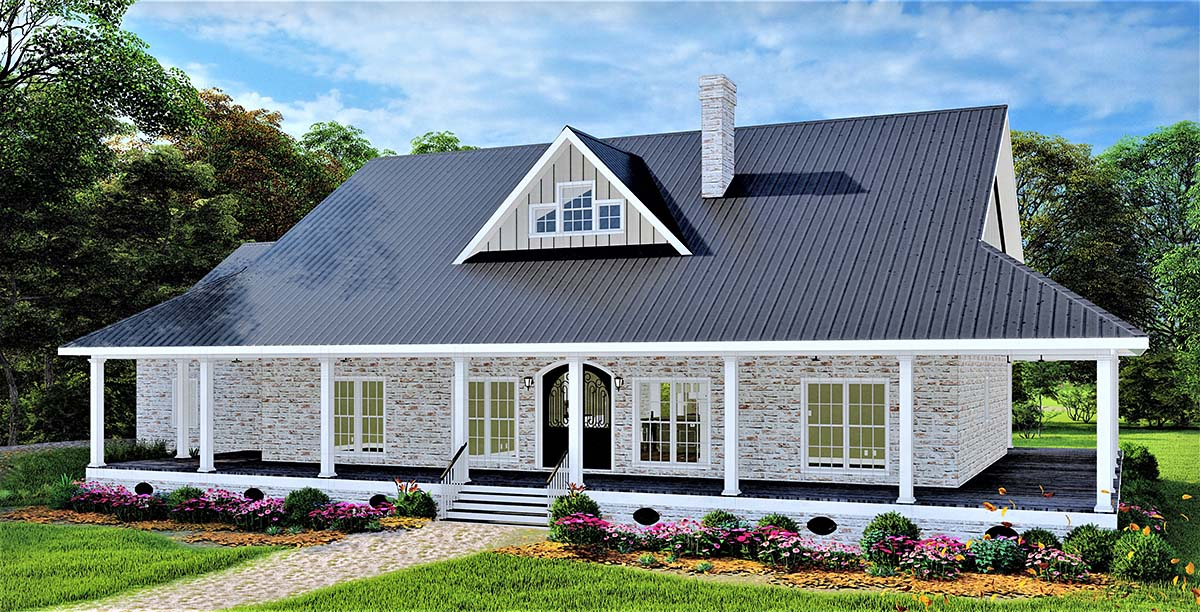 Country, Farmhouse, Plantation House Plan 77409 with 3 Beds, 2 Baths, 2 Car Garage Picture 1