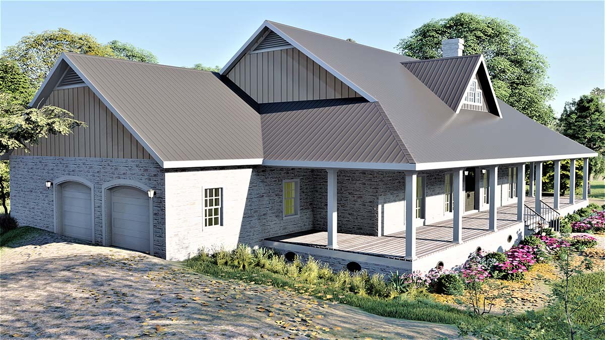Country, Farmhouse, Plantation House Plan 77409 with 3 Beds, 2 Baths, 2 Car Garage Picture 2