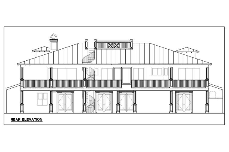 Florida House Plan 78103 with 3 Beds, 3 Baths, 3 Car Garage Rear Elevation