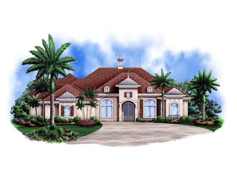 Mediterranean House Plan 78104 with 3 Beds, 4 Baths, 2 Car Garage Elevation