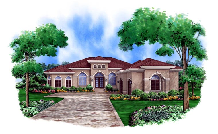 Mediterranean House Plan 78105 with 3 Beds, 3 Baths, 3 Car Garage Front Elevation
