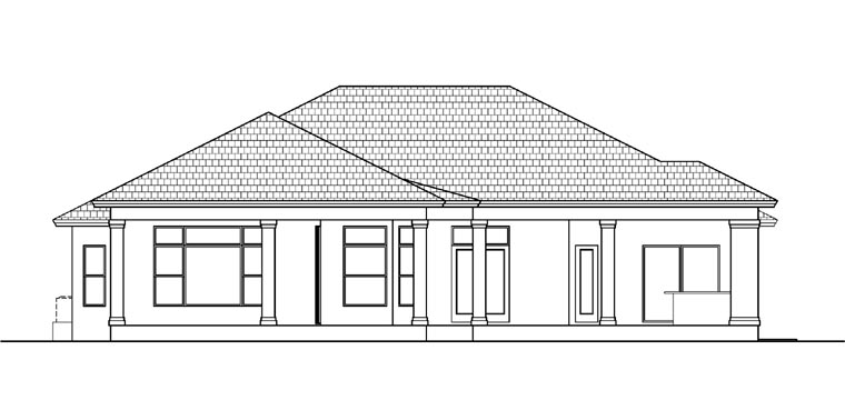 Mediterranean House Plan 78105 with 3 Beds, 3 Baths, 3 Car Garage Rear Elevation