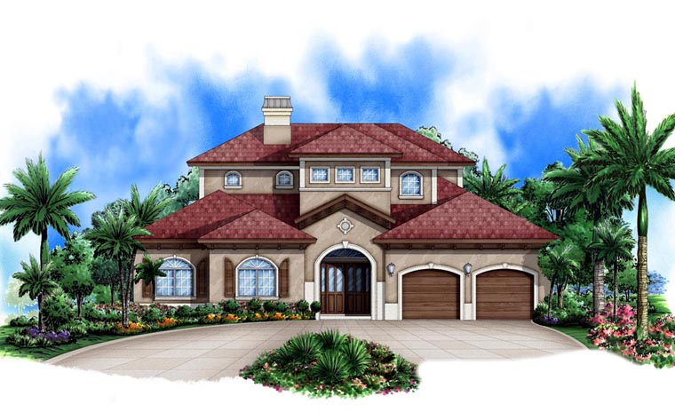 Mediterranean House Plan 78106 with 3 Beds, 4 Baths, 2 Car Garage Front Elevation