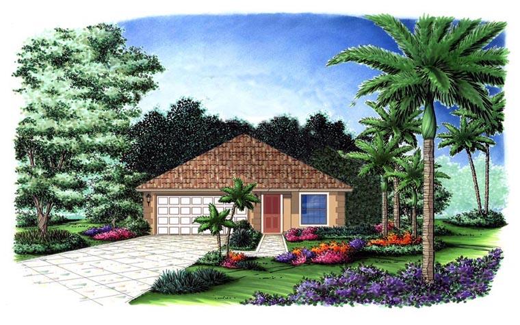Mediterranean House Plan 78107 with 3 Beds, 2 Baths, 2 Car Garage Elevation