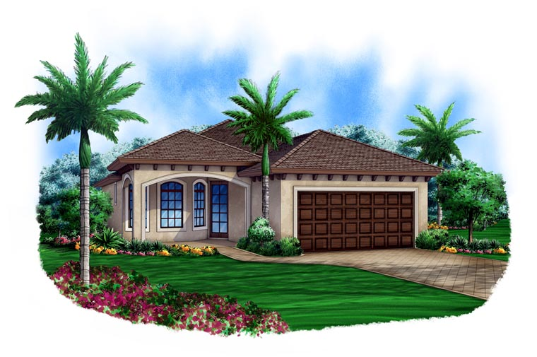 Mediterranean House Plan 78110 with 3 Beds, 2 Baths, 2 Car Garage Front Elevation