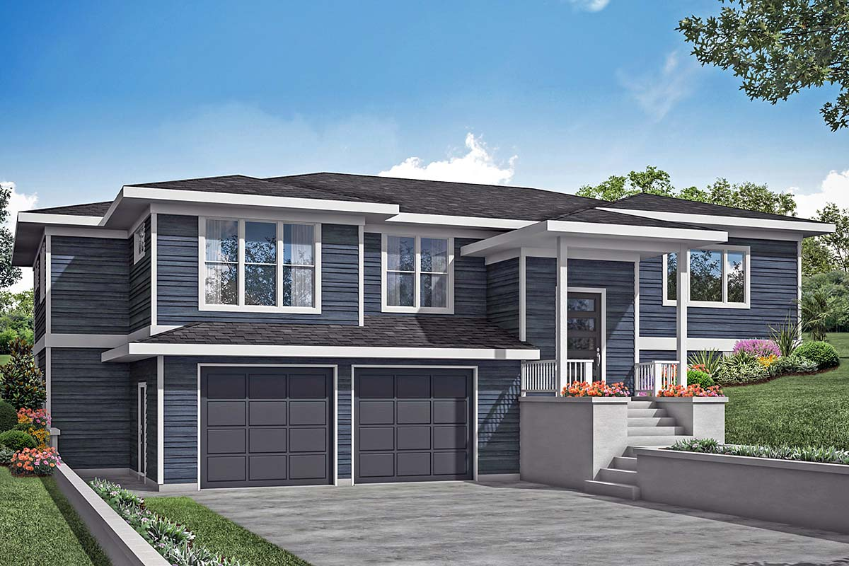 Contemporary, Modern, Prairie House Plan 78400 with 3 Beds, 3 Baths, 2 Car Garage Elevation