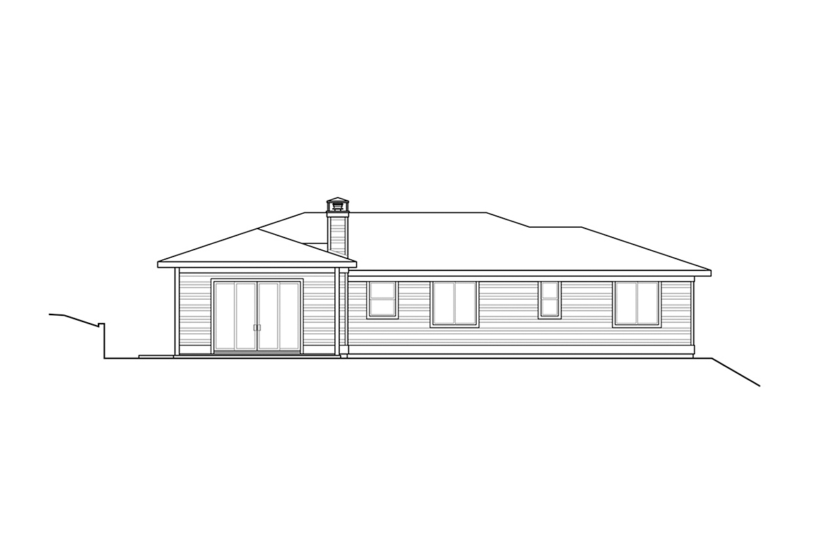 Contemporary, Modern, Prairie House Plan 78400 with 3 Beds, 3 Baths, 2 Car Garage Rear Elevation
