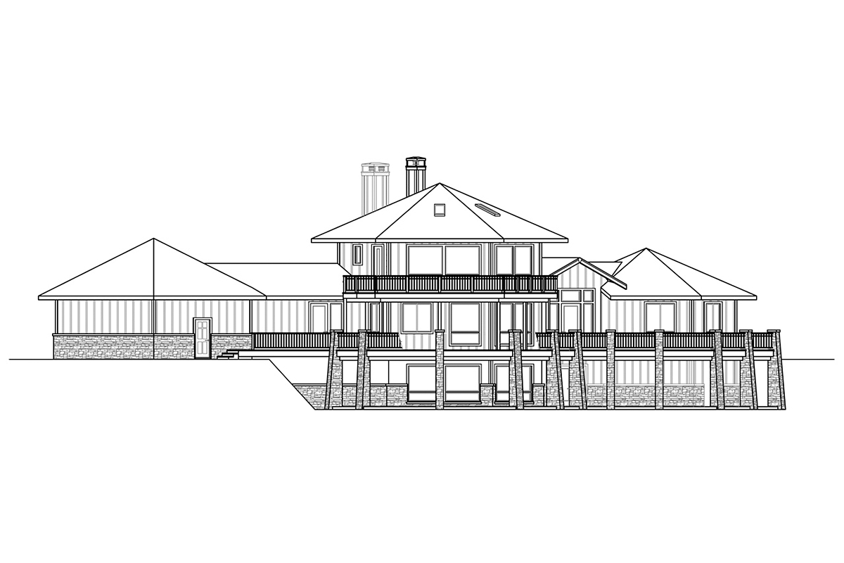 Cabin, Contemporary, Craftsman House Plan 78403 with 3 Beds, 4 Baths, 2 Car Garage Rear Elevation