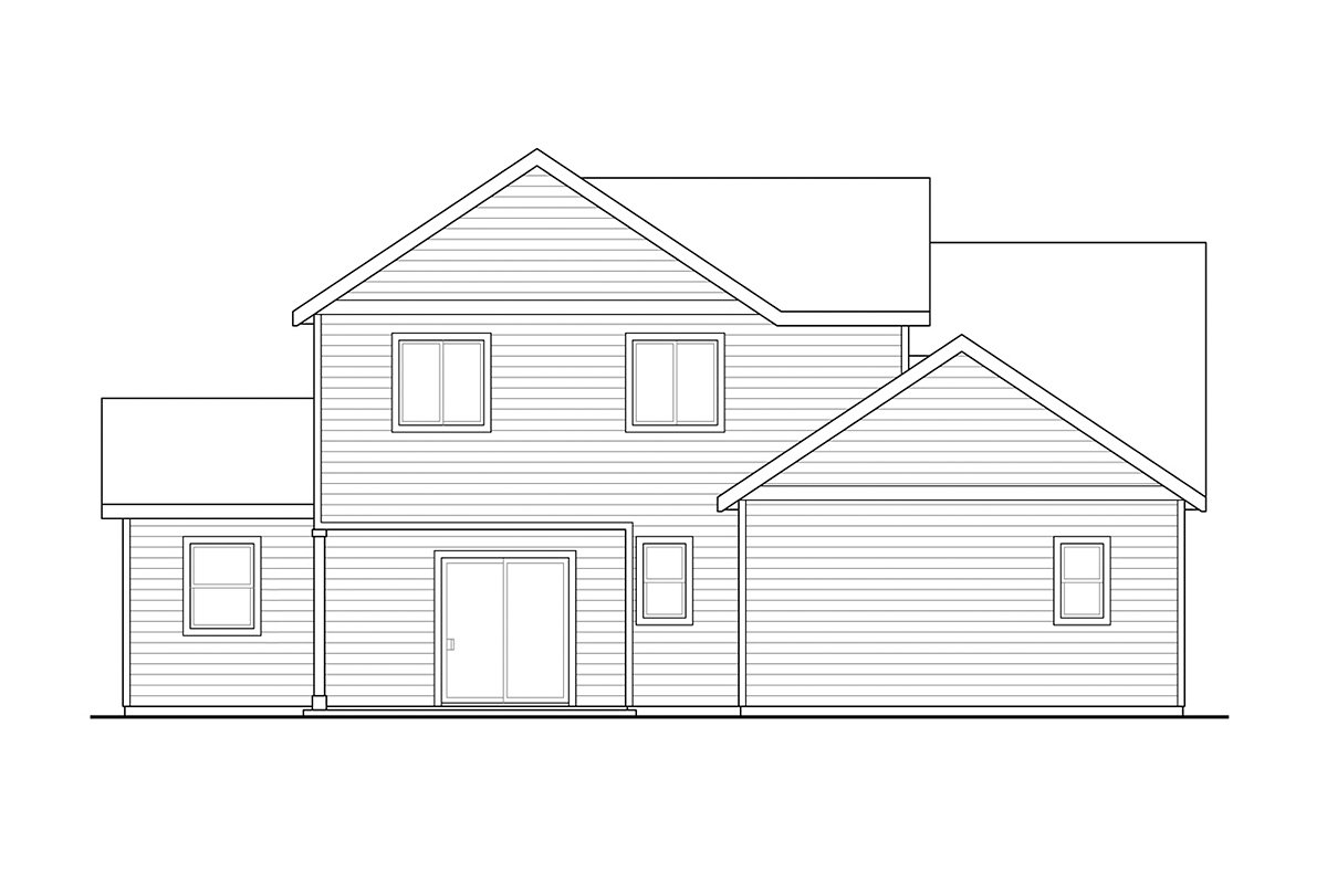 Country, Craftsman, Traditional House Plan 78405 with 4 Beds, 3 Baths, 2 Car Garage Rear Elevation