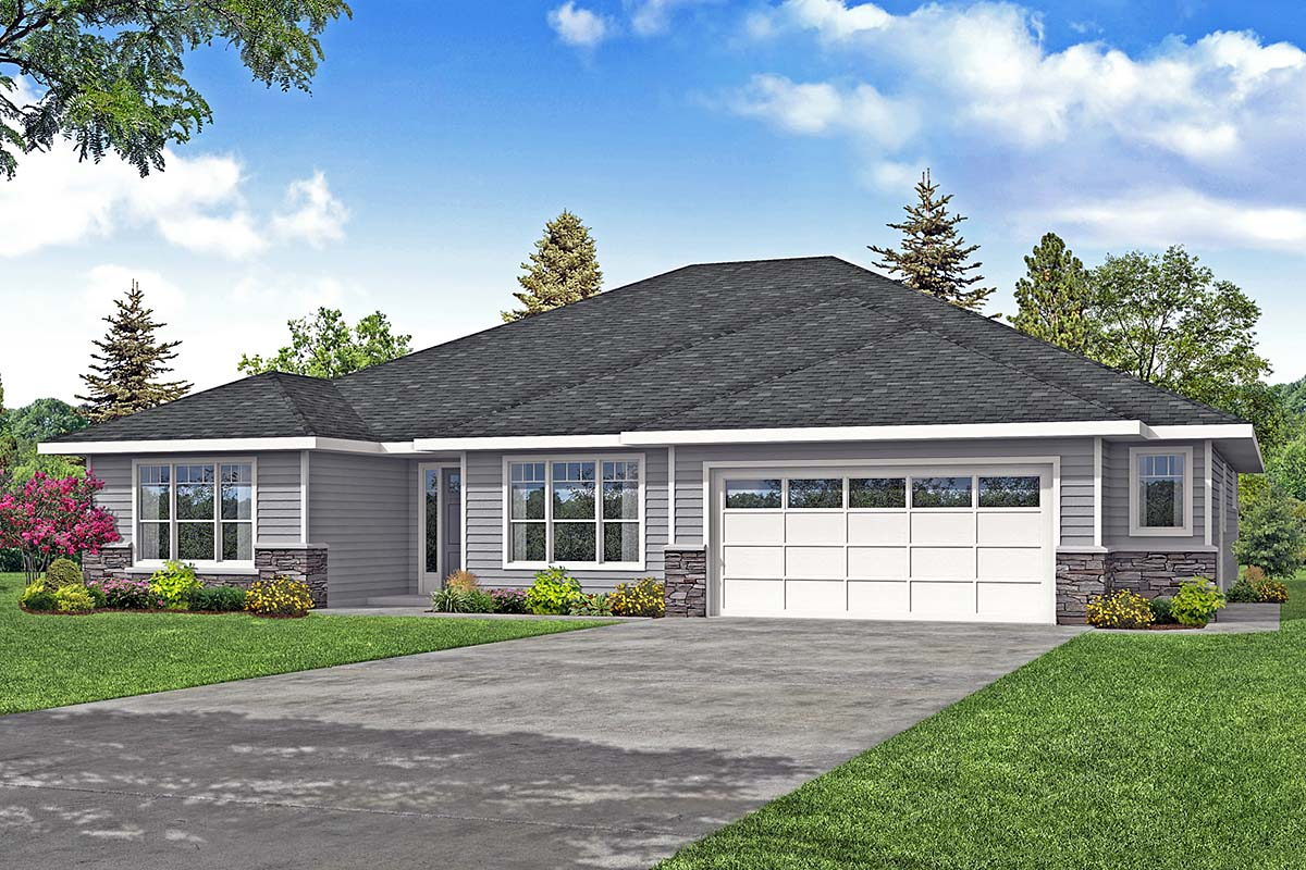 Prairie, Ranch, Traditional House Plan 78406 with 3 Beds, 4 Baths, 2 Car Garage Elevation