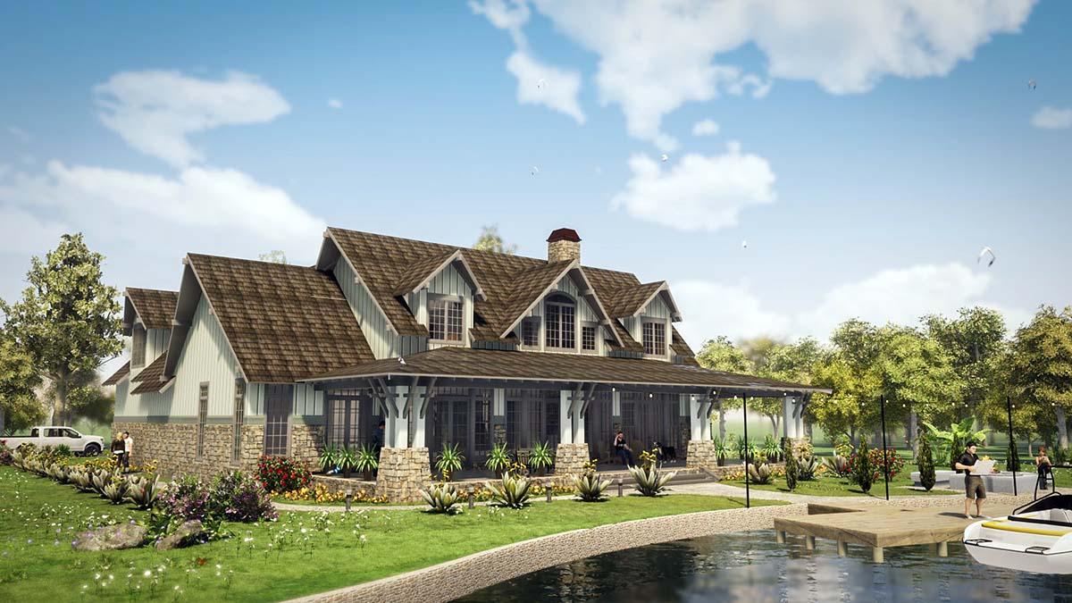 Tudor, Tuscan House Plan 78501 with 5 Beds, 6 Baths, 2 Car Garage Rear Elevation