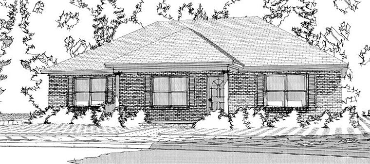 Ranch, Traditional House Plan 78626 with 3 Beds, 2 Baths Elevation