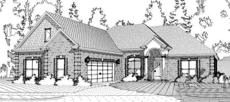 European, Traditional House Plan 78641 with 4 Beds, 4 Baths, 2 Car Garage Elevation