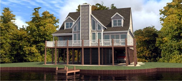 Coastal House Plan 78732 with 4 Beds, 4 Baths Elevation