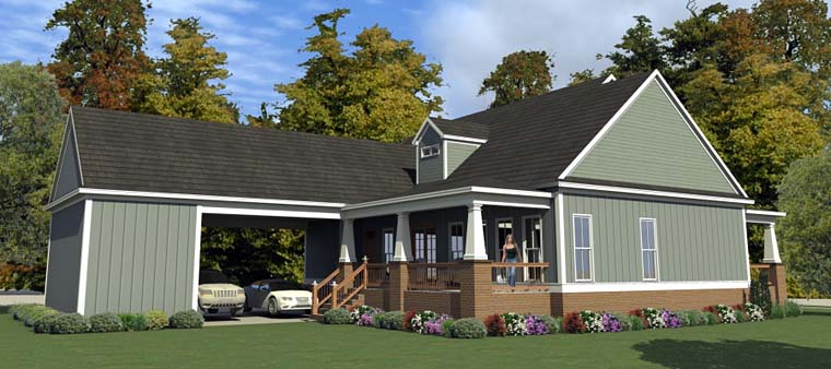 Bungalow, Cottage, Country, Craftsman, Farmhouse, Historic House Plan 78898 with 3 Beds, 3 Baths, 2 Car Garage Rear Elevation
