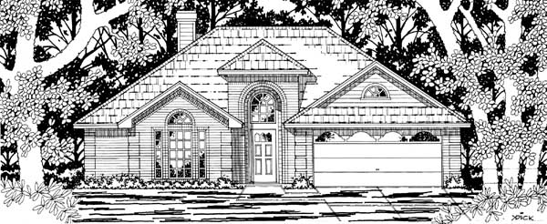 European, One-Story House Plan 79186 with 3 Beds, 2 Baths, 2 Car Garage Elevation