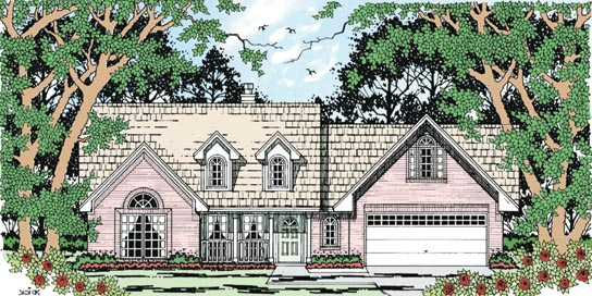 Country, One-Story House Plan 79257 with 4 Beds, 2 Baths, 2 Car Garage Elevation