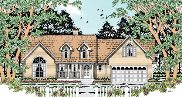 Country, One-Story House Plan 79284 with 4 Beds, 2 Baths, 2 Car Garage Front Elevation