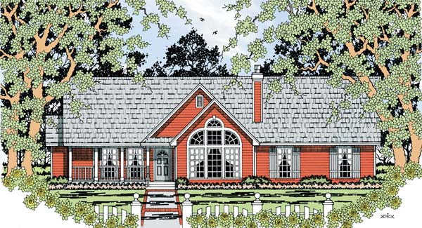 Country, One-Story House Plan 79292 with 4 Beds, 2 Baths, 2 Car Garage Elevation