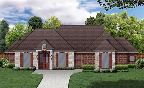 European, Traditional House Plan 79335 with 3 Beds, 4 Baths, 2 Car Garage Elevation