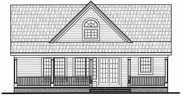 Cape Cod, Cottage, Country, Farmhouse, Traditional House Plan 79517 with 2 Beds, 2 Baths Rear Elevation