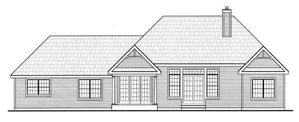 Country, Farmhouse, Southern, Traditional House Plan 79518 with 3 Beds, 2 Baths, 2 Car Garage Rear Elevation