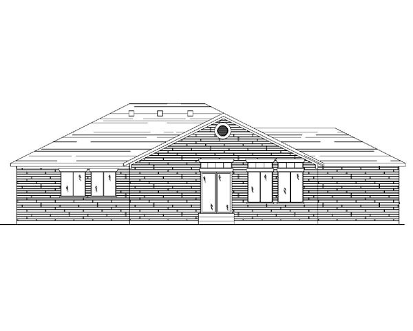 House Plan 79709 with 3 Beds, 3 Baths, 3 Car Garage Rear Elevation