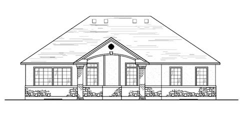 European House Plan 79714 with 3 Beds, 3 Baths, 2 Car Garage Rear Elevation