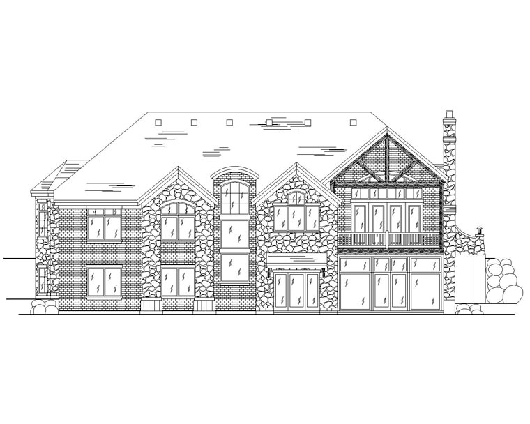 European House Plan 79769 with 4 Beds, 4 Baths, 2 Car Garage Rear Elevation