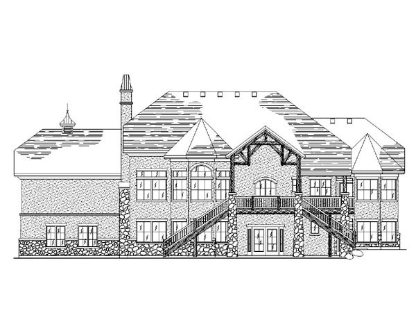 European House Plan 79781 with 5 Beds, 5 Baths, 3 Car Garage Rear Elevation